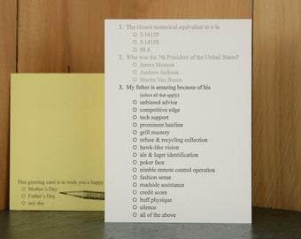 Pop Quiz - letterpress Father's Day card