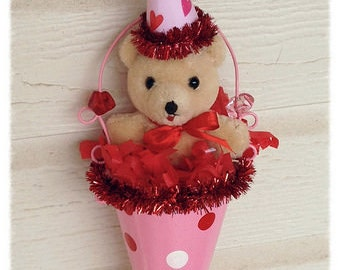 Valentine's Day Decoration OOAK Vintage Teddy Bear Valentine Ornament  Valentine gift TVAT