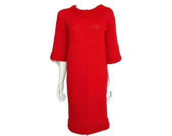 Vintage Red Knit Dress// Comfy Casual Red Dress// Red Knitted Knee Length Dress// Size M // 207