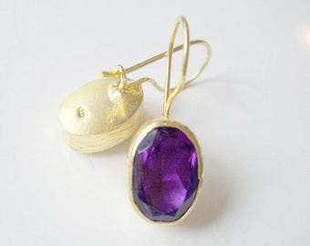 Gold Plate Amethyst Silver earring