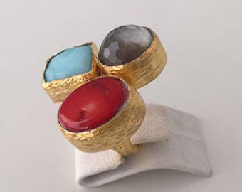 Triple Gold plated Agate and   Coral ring
