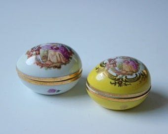 Pair of Limoges/France egg trinket or jewelry dish