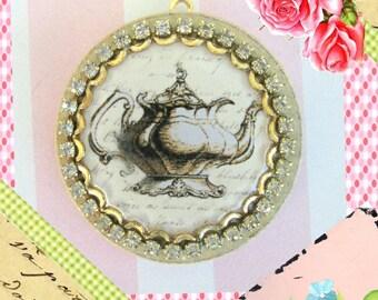 Pendant, Round Teapot Pendant, Shabby Chic Jewelry, Jane austen, Rhinestone, Pendant, Pin, Jewelry, Charm, Pendant