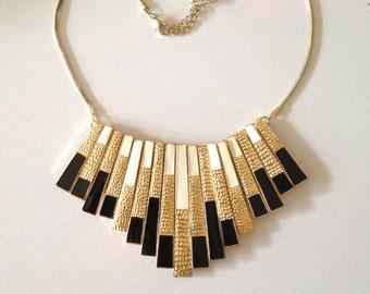 Art Deco Revival Necklace Enamel on Brass Vintage 70s Gold Necklace