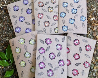 Seven Daisies Hand Printed and Hand Coloured Artisan Gift Card on Recycled Kraft Card with Swarovski Diamantes