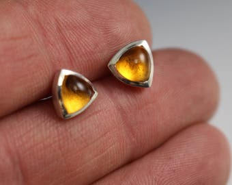 6mm trillion shaped citrine stud earrings - sterling silver - READY TO SHIP