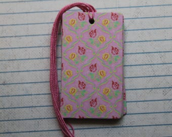 24 gift tags pink/yellow roses patterned paper over chipboard