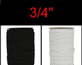 "5 Yards - 3/4"" - Flat Braided ELASTIC, 3/4 inch - Black or White"