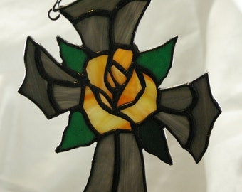 Handmade Stained Glass Cross with Peach Rose