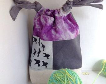 Project bag knitting. Sock knitting bag. Project bags for knitting small sock bag, Crochet bag,