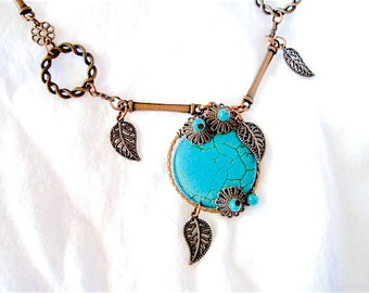 Turquoise Bead Leaves Wire Wrapped Copper and Beaded Handmade Necklace