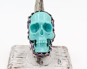 Sparkle Turqouise Blue Misfit // Resin Skull and Solid Sterling Metalsmith necklace with welded by BellaLili