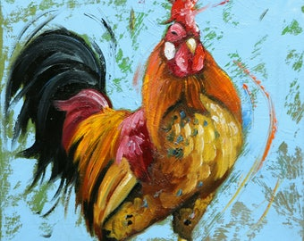 Rooster 852 12x12 inch animal portrait original oil painting by Roz