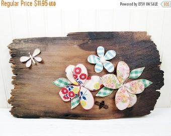 ON SALE Vintage Wood Wall Hanging Plaque Fabric Flowers Art Wooden Handmade Retro