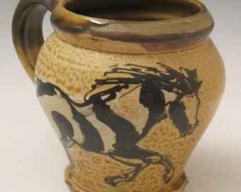 Large mug with slip trailed horses black and white paints