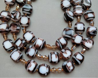 One strand of 18 Vintage Brown and White Square Table Cut Glass Beads