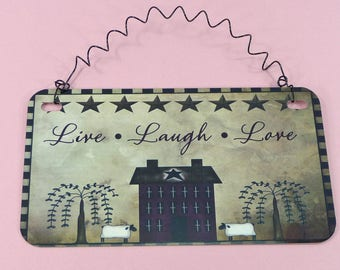 Sign LIVE LAUGH LOVE Primitive Homespun Tole Folk Art Metal Curly Wire Small Wall Hanging Home Office Gift Decor Sign For Small Space