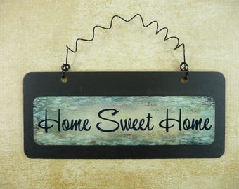 HOME SWEET HOME Sign Wooden Metal Cute Chalkboard Small Wire Hanging Front Door Sign Black Green