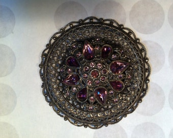 """antique purple and silver ornate pin brooch 2 1/4"""""""