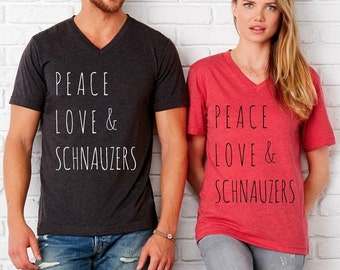 Peace Love & and SCHNAUZERS UNISEX tri blend V neck shirt screenprinted Mens Ladies