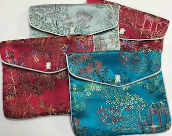 """Vintage SILK PURSES Chinese Brocade Jewelry Pouches 5x6"""" pkg4"""