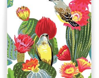 Kingbirds in Cacti : Box of 8 A2 folding blank cards