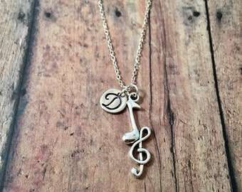 Treble clef and music note initial necklace - music necklace, treble clef jewelry, gift for musician, music teacher gift, band jewelry