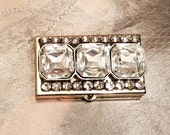Stash/Pill Box/Silver Rhinestone Bling