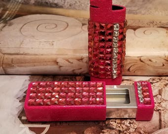 Pink Square Bling Bic Lighter /Ash Tray