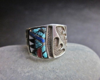 Vintage Zuni Sterling and Multi-stone Inlay Ring SALE