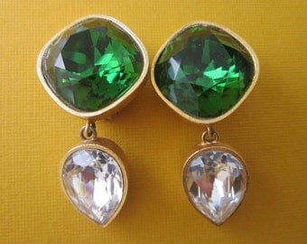 Vintage Mary Frost Crystal Earrings large statement earrings Clip Earrings