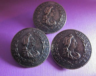 Antique Metal Picture Buttons Maria Theresa