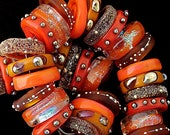 DSG Beads -  Artisan Debbie Sanders Glass Handmade Organic Lampwork - Made To Order ~Orange Spice~ Chunky Disc Set