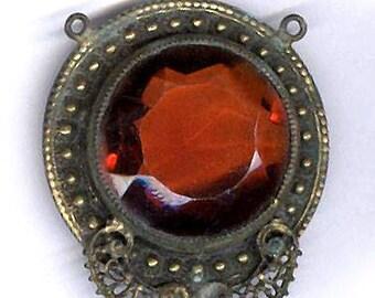 vintage ORNATE FOCAL pendant antique czech glass reddish amber jeweltone pendant, set in antique brass verdigris connector