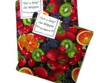 GET A GRIP Jar Grippers, set of two, jar lid openers, cotton, Fresh fruit on black