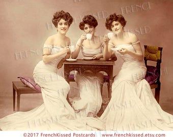 Tea for Three Trio of Glamourous Edwardian Ladies Customized Antique French Postcard Digital Printable
