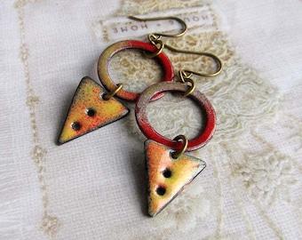Rustic earrings - Geometric earrings - yellow red torch enamel jewelry - Artisan boho jewelry