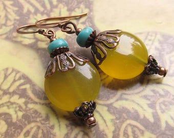 Yellow earrings - chalcedony stone dangle earrings - Copper jewelry