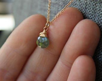 Moss Aquamarine Rose Gold Necklace
