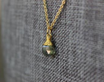 Moss Aquamarine Gold Necklace