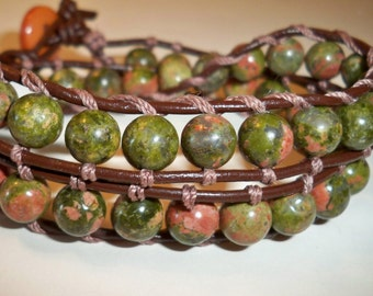 Leather Wrap Bracelet, Unikite Gemstone Bead Wrap Bracelet Double Wrap Leather Bracelet Available in Many Sizes and Colors for Men and Women