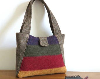 Willow Handbag in Purple, Green, Red and Gold, Upcycled Felted Wool Sweater Purse