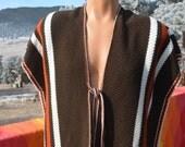 vintage 70s vest PONCHO long blanket hand knit stripe brown coat tie fringe Large XL native