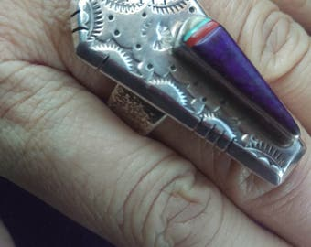 Artist David Tune Sterling Silver Purple Turquoise, coral, and green turquoise statement ring