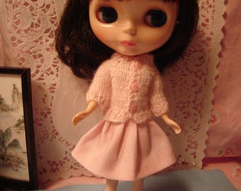 Blythe Pale Pink Sweater with Polka Dot Buttons for Pullip and Vintage Skipper Too!