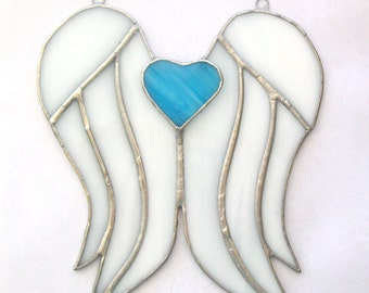 Angel wings memorial with sky blue heart stained glass remembrance