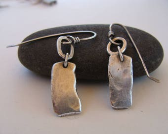 Reclaimed Oxidized Dangle Sterling Silver Handcrafted Earrings