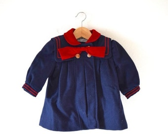 FLASH SALE / 20% off Vintage 50s 60s On the Good Ship Rothschild Navy Blue and Red Wool Little Girl's Sailor Coat (size 2)