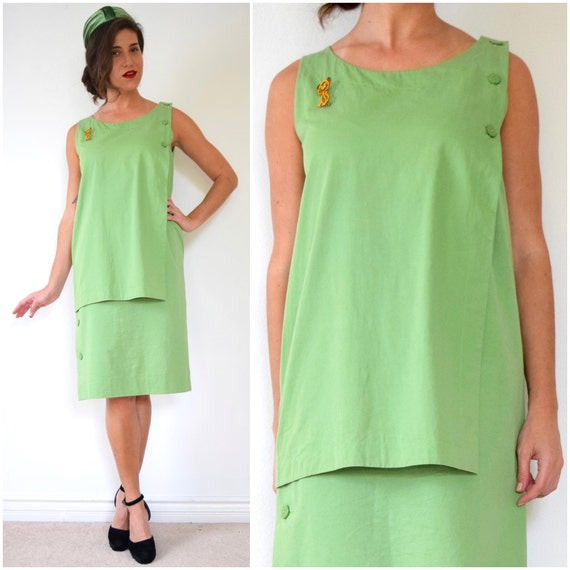 SPRING SALE/ 20% off Vintage 70s 80s Christian Dior Coordonnes Lime Green Polished Cotton Shift Dress (size medium, large)
