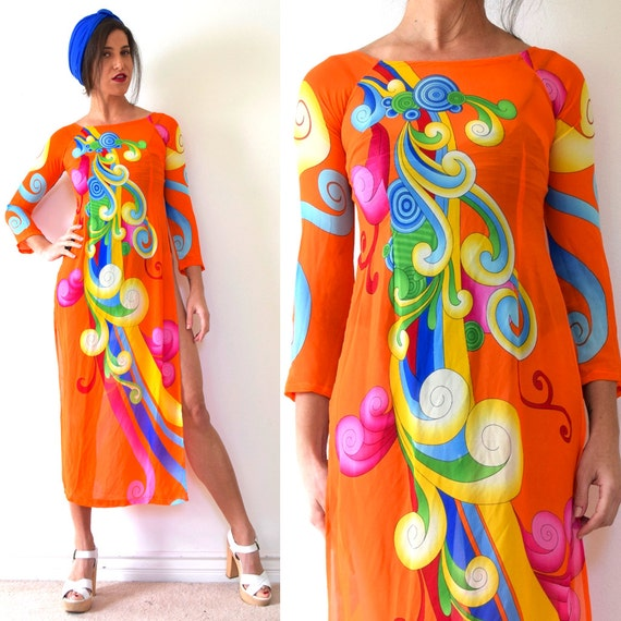 SUMMER SALE / 20% off Vintage 90s does 60s Psychedelic Orange Silk Tunic (size xs, small)
